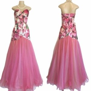 Sherri Hill pink rose formal prom dress gown 8